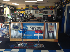 Front desk with bar stools at Red Mountain Tire and wheel shop